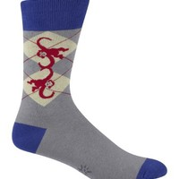 Sock It To Me Men's Crew Socks,Monkeys Grey Argyle,One Size