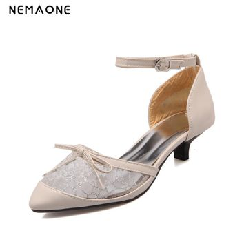 NEMAON2017 sexy women shoes ankle strap low heels shoes woman poined toe ladies dress shoes party wedding shoes large size 34-43