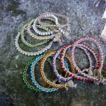 Summer Macrame Bracelets Braided Hemp Bracelet Stacking Bracelet Braided Bracelet Natural Hemp Bracelets Hippie Boho Bohemian Gypsy Jewelry