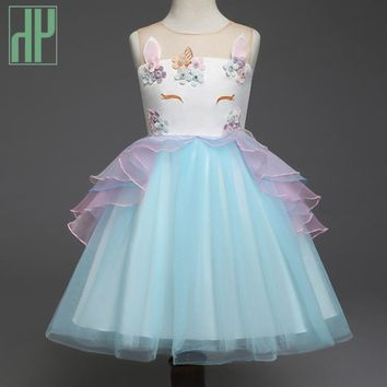 Summer dress girl kids costume Unicorn Dress for little Girls Embroidery Flower Ball Gown birthday party beach dress children