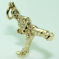 10K 14K Detailed high quality 3 Dimensional Martial Art's Fighter Gold Charm - Pendant