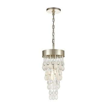 Morning Frost 1-Light Mini Pendant in Silver Leaf with Clear and Frosted Glass Drops