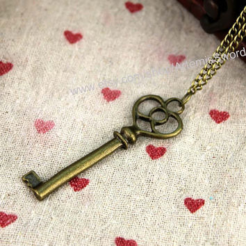 bronze Doctor Who Inspired TARDIS Key Necklace Steampunk jewelry Bronze treasure chest key pendant