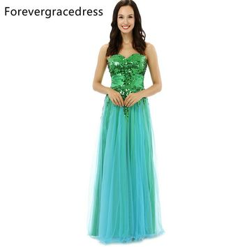 Forevergracedress Original Pictures Unique Prom Dress Sweetheart Tulle Sequins Sleeveless Long Formal Party Dress Plus Size