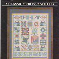 """Counted cross Stitch pattern leaflet Quilt Sampler Janlynn #900-03 17 traditional quilt blocks 11"""" x 14"""" finished size in 14 ct aida"""