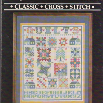 "Counted cross Stitch pattern leaflet Quilt Sampler Janlynn #900-03 17 traditional quilt blocks 11"" x 14"" finished size in 14 ct aida"