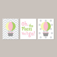 Hot Air Balloon Nursery Hot Air Balloon Decor Baby Girl Nursery Girl Bedroom Art Oh The Places Set of 3 Prints Chevron Pink Yellow Nursery
