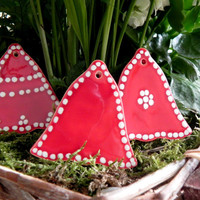 Red Ceramic Christmas Ornaments Red Bell Winter Home Decoration Gift Set of 3