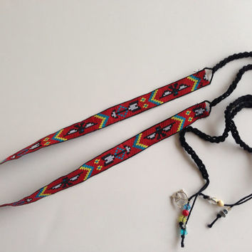 Red Navajo Style Headband with beads, Hippie Headband, Aztec Headband, Bohemian Crocheted Headband with beads