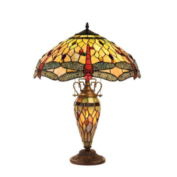 "Anisoptera Purity Tiffany-Style Dragonfly 3 Light Double Lit Table Lamp 19""Shade"