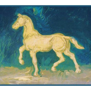 Plaster Model of a White Horse inspired by Impressionist Vincent Van Gogh's Painting Counted Cross Stitch or Counted Needlepoint Pattern