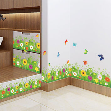 Spring Colorful Flower Grass Butterfly Clover Skirting Line Flora