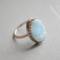 Frozen Ring- Frosted Blue Druzy ring in a Sterling Silver Royal Bezel Cup Setting, crown ring, princess ring, royal ring, frozen ring, druzy