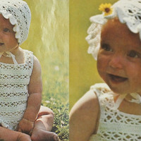 Baby set crochet top bonnet toddlers DRESS PDF Instant Download  lacy hat top set pdf baby knitting supplies epsteam knitting pattern pdf
