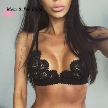 Women Lace Floral Bralette Bralet Bra Bustier Crop Top Unpadded Lingerie Bra Sexy Women Ladies
