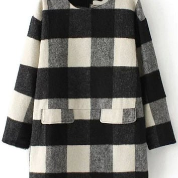 Plaid Long Sleeve Back Zipper Mini Dress