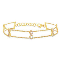 0.25ct 14k Yellow Gold Diamond Ribbon Bow Bracelet
