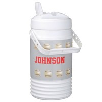 Personalized Beverage Cooler Baseball Gray & Red