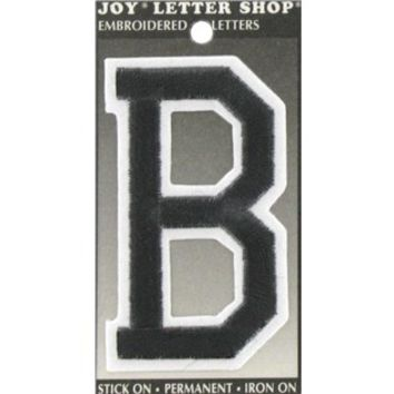 "3"" Black Embroidered Iron-On Letter - B 