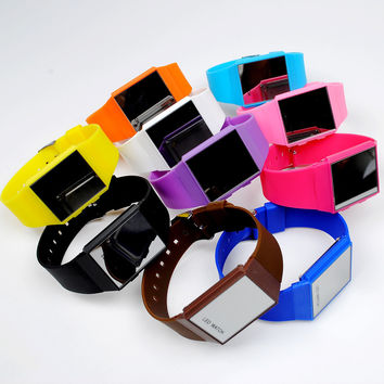 Men's LED Watch with Rectangular Dial and Digital Display Rubber Watch Band