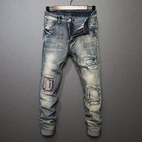 Ripped Holes Denim Pants Slim Jeans [10869556803]