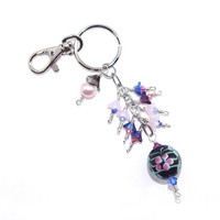 Key Fob Keychain – Crystal Glass Flower Steel Chain Purse Charm – Handbag Accessories – Birthday Present for Her