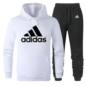 ADIDAS tide brand simple men and women sports suit two-piece white
