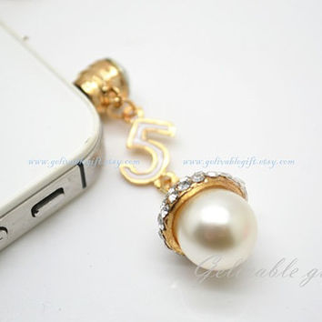 Filbert iPhone 5 4S 4 charm,3.5mm dust proof plug with number 5,crystal pearl filbert charms,fit for samsung Blackberry HTC PSFB01