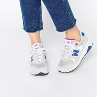 New Balance 580 Light Grey Suede/Mesh Trainers