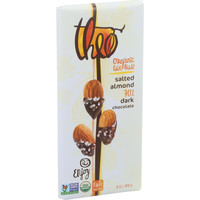 Theo Chocolate Organic Chocolate Bar - Classic - Dark Chocolate - 70 Percent Cacao - Salted Almond - 3 Oz Bars - Case Of 12