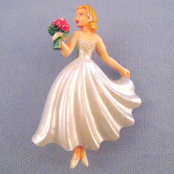 Plastic 'Tiny Dancer' Girl Pin - White Flowing Dress and Flowers - Made in Germany