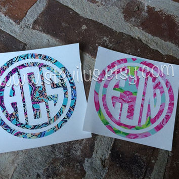 Lilly Pulitzer Inspired Circle Monogram Yeti Decal | Car Decal | Mac Book Decal