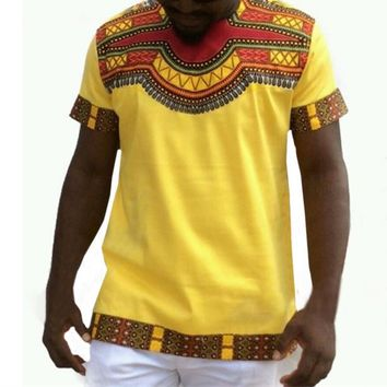 Men's African Dashiki T-shirt Boho HipHop Kaftan Festive Tribal Gypsy Ethnic Top Traditional Printing Tshirt Men Clothes Dashiki