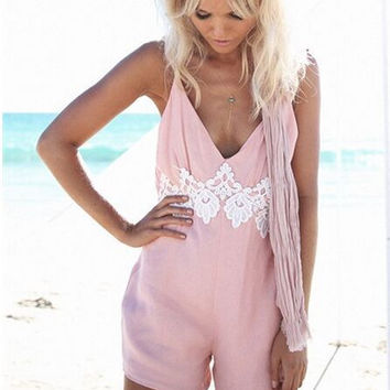 Lace Patchwork Backless Playsuit