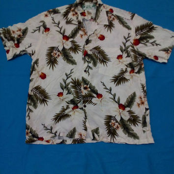 Men's Hawaii Two Palms T-shirt vintage beach wear 100% Rayon, Aloha shirt
