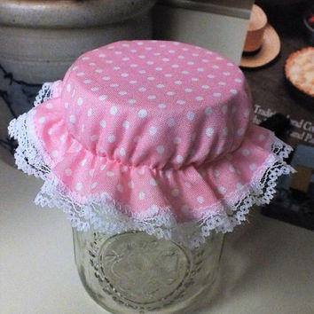 8 Pink with White Polka Dots Reusable Elastic Mason Canning Jar Bonnets/Jar Toppers/Jar Lid Covers/Jam Jar Covers