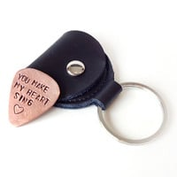 copper guitar pick - leather keychain pic holder - mens gift, you make my heart sing - valentine gift for man
