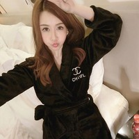 VONE056 Chanel Warm Women'S Pajamas Embroidered Bathrobe Pajamas