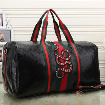 Gucci Women Fashion Leather Embroidery Luggage Travel Bags Tote Handbag-1