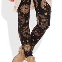 Leggings with Gold Sun Print