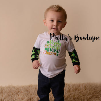 Boys St. Patrick's Day Shirt -- Mommy & Daddys Lucky Charm bodysuit or t shirt with legwarmers shown as arm warmers - St. Patricks Day shirt
