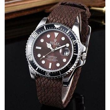 Rolex Fashionable Ladies Men Weaves Belt Movement Quartz Watches Lovers Wristwatch Coffee I