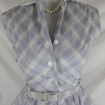 Vintage 50s 60s Johnathan Logan Purple Plaid FULL SKIRT Cotton Party Dress W 27