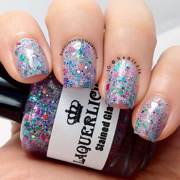 Stained Glass II - Pink Purple Teal Hologram Holographic Glitter Indie Custom Nail Polish