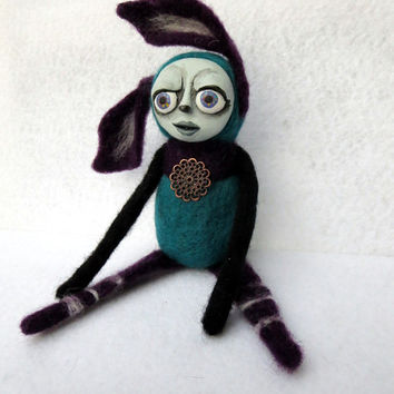 Ooak art doll Mixed media sculpture Needle felted fantasy Creepy cute Strange doll