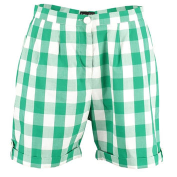 Green Picnic Check Turn-up Shorts by Lowie