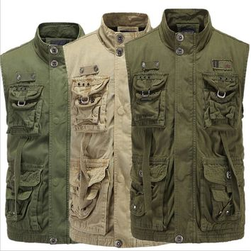 Cargo Style Men Vest Casual Male Waistcoat With Many Pockets Multi-Function Army Green Outwear Waist Coat A3226