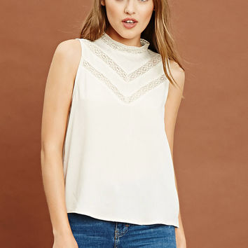 Mock Neck Lace Top