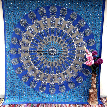 Tapestry Wall Hanging, Indian Mandala Tapestries, Peacock feather Tapestry, Boho Throw, Bohemian tapestries, Dorm Bedding, Wall Decor