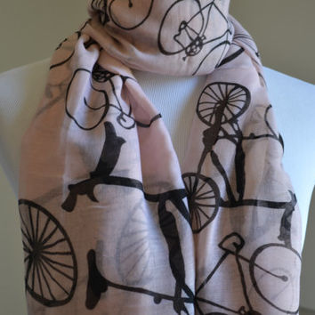 Flash Sale Pink Bicycle Scarf Cute Scarf Large Bicycle Regular Scarf Christmas Gift Biking Lover Vintage Bicycle Print Scarf Shawl Beach